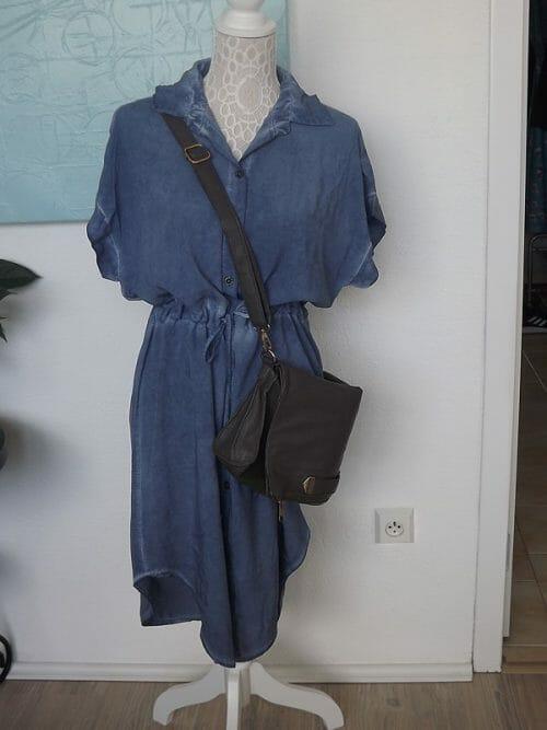 Modré košeľové šaty